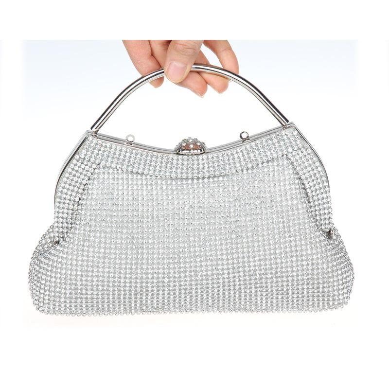 Silver Crystal Clutch Handbag Fashion Women's Rhinestone Evening Prom Cocktail Bag KK010 - KK Boutique store