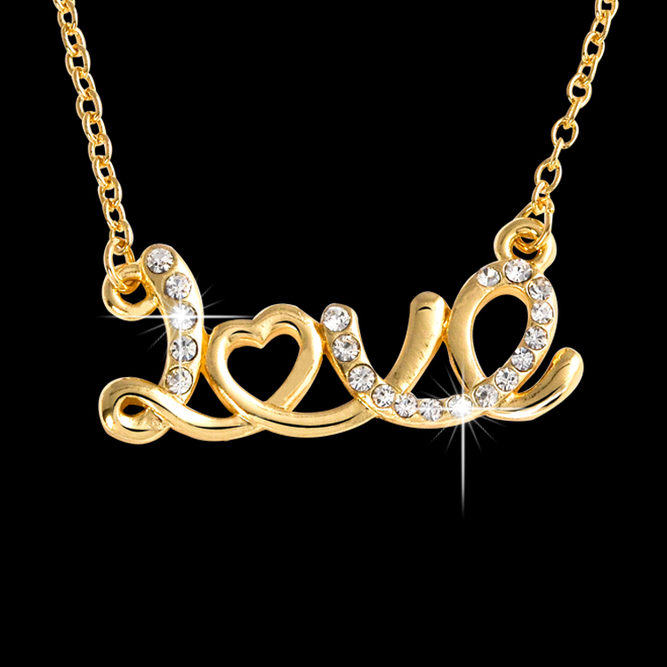 Fashion Jewelry Alloy Full Crystal Rhinestone love heart Necklace Gold-plated Pendant T1316(China (Mainland))