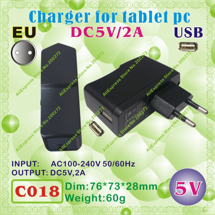 5pcs [C018] USB / 5V,2A / EU power plug (Europe Standard);Charger or power adaptor for tablet pc;cell phone;led