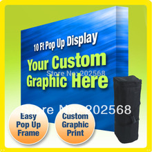 10' FABRIC VELCRO POP UP TRADE SHOW BOOTH DISPLAY BANNER STAND + Custom Graphic PRINT POP UP banner stand(Freeshipping to USA)(China (Mainland))
