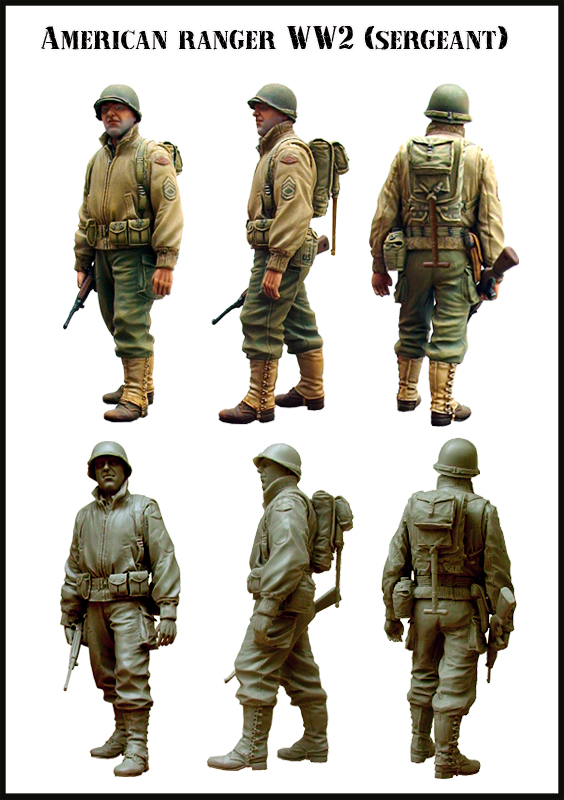 Scale Models 1/35 WW2 The American ranger ww2 soldier WWII Resin Model Free Shipping(China (Mainland))