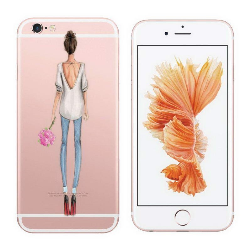 Beautiful Girl drink coffee Design Transparent TPU Case Cover For Iphone 6 6s Plus 5 5s SE Fashion Clear Cell Phone Cases Coque