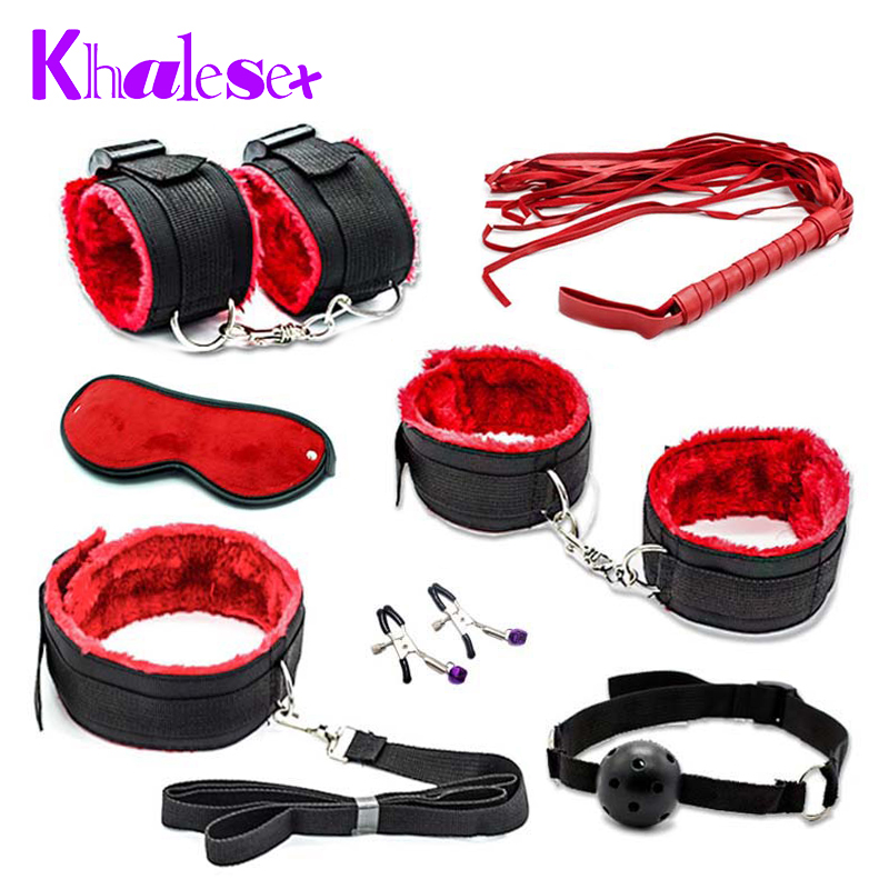New Sexy 7 Pcs/Set Kit Fetish Sex Bondage Sex Toys for Couples, Nipple Clamps Foot Handcuff Ball Gag Whip Collar Eye mask(China (Mainland))