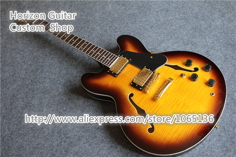 Good Cheap Price ES 335 Guitar Jazz Semi-hollow Body Electrica Guitarra Vintage Sunburst In Stock For Shipping(China (Mainland))