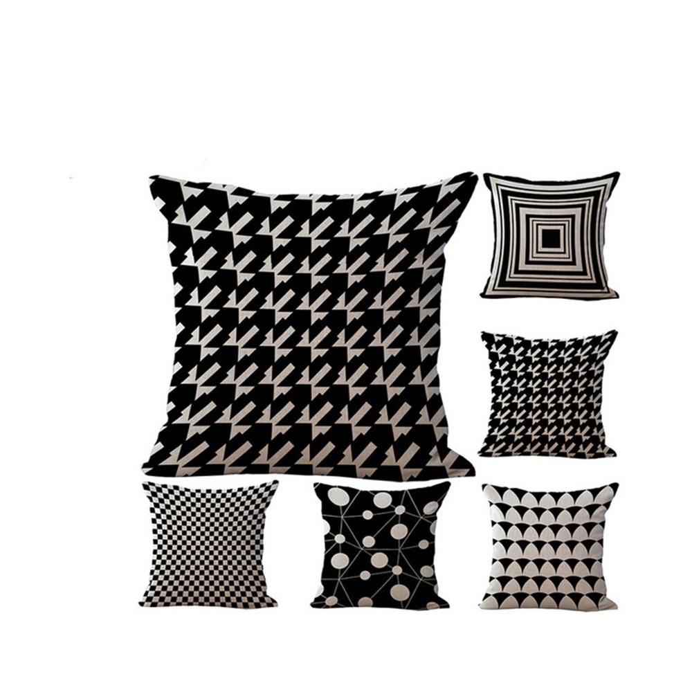 Pouf 18 X 18 Black White Geometric Decorative Pillows