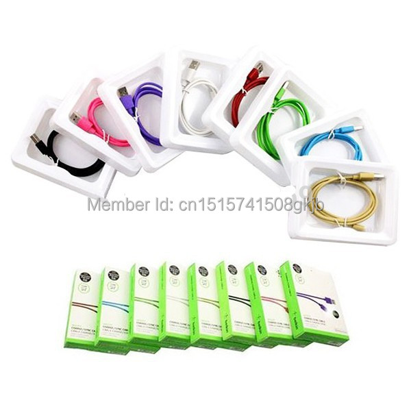 5pcs/lot 7 Colors 8 Pin 1.2M 4FT USB Sync Data Charger Cable For Belkin iphone 6 6s plus 5 5s ipad ipod With Original Retail Bo