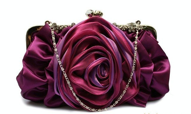 Purple Rose Crystal Flowers Frame Satin Wedding/Party/Evening handbag,Clutch purse with chain,1pcs Wholesal&retail-Freeshipping