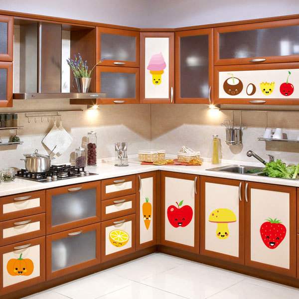 Cartoon Kitchen Furniture: Fruit Wall Stickers Refrigerator Stickers Kitchen Cabinet