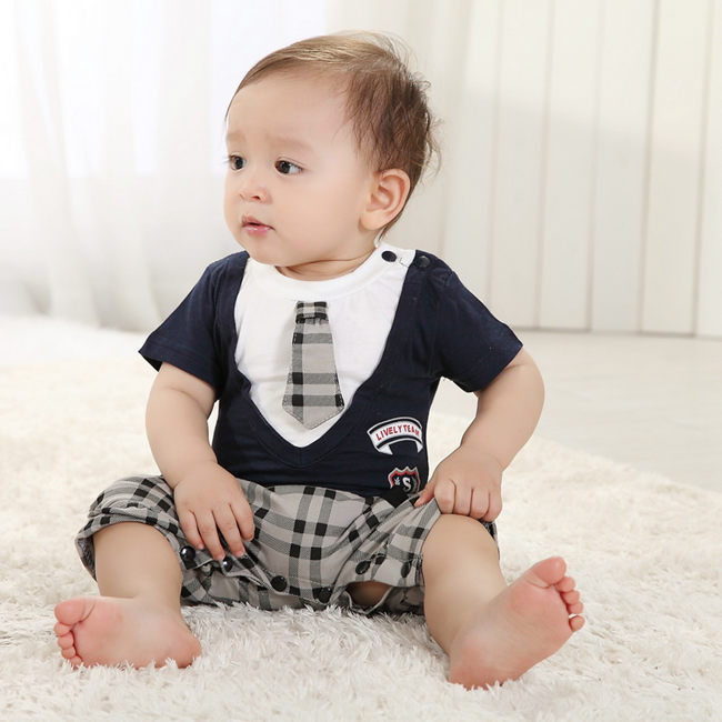 Fashion Fake Tie Baby Boy Clothing Sets 2017 Summer Plaid shirts+pant Toddler Clothes 7-24 Months Old SBS154002(China (Mainland))