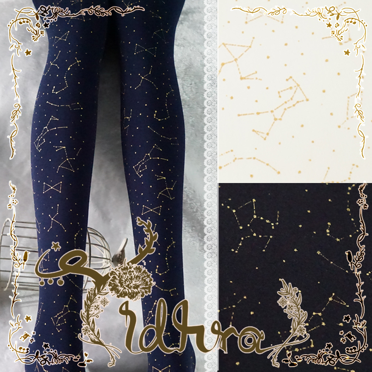 Yidhra Galaxy River Three Color (Black, Blue, White) Printed Velvet Lolita Pantyhose/TightsОдежда и ак�е��уары<br><br><br>Aliexpress