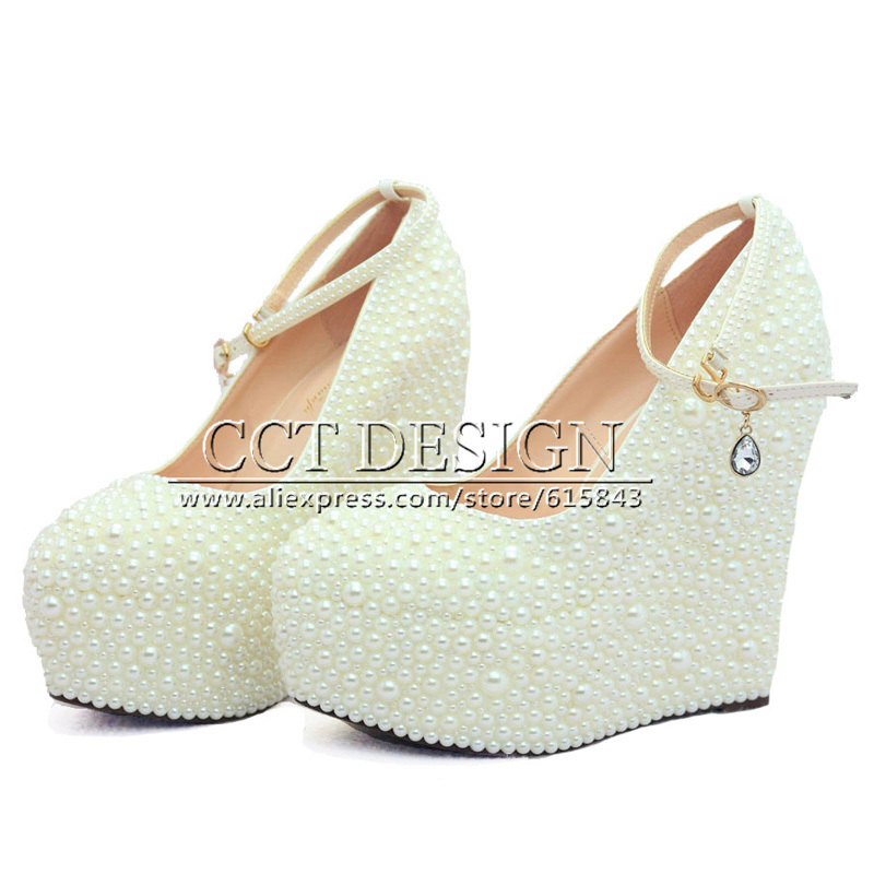 2015 New Fashion Wedding Wedges formal wedding shoes White Ivory Pearl Wedding Wedge High Heel platform Bridal wedge(China (Mainland))