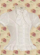 Top Selling Simple White Short Sleeves Cotton Lolita Blouse(China (Mainland))