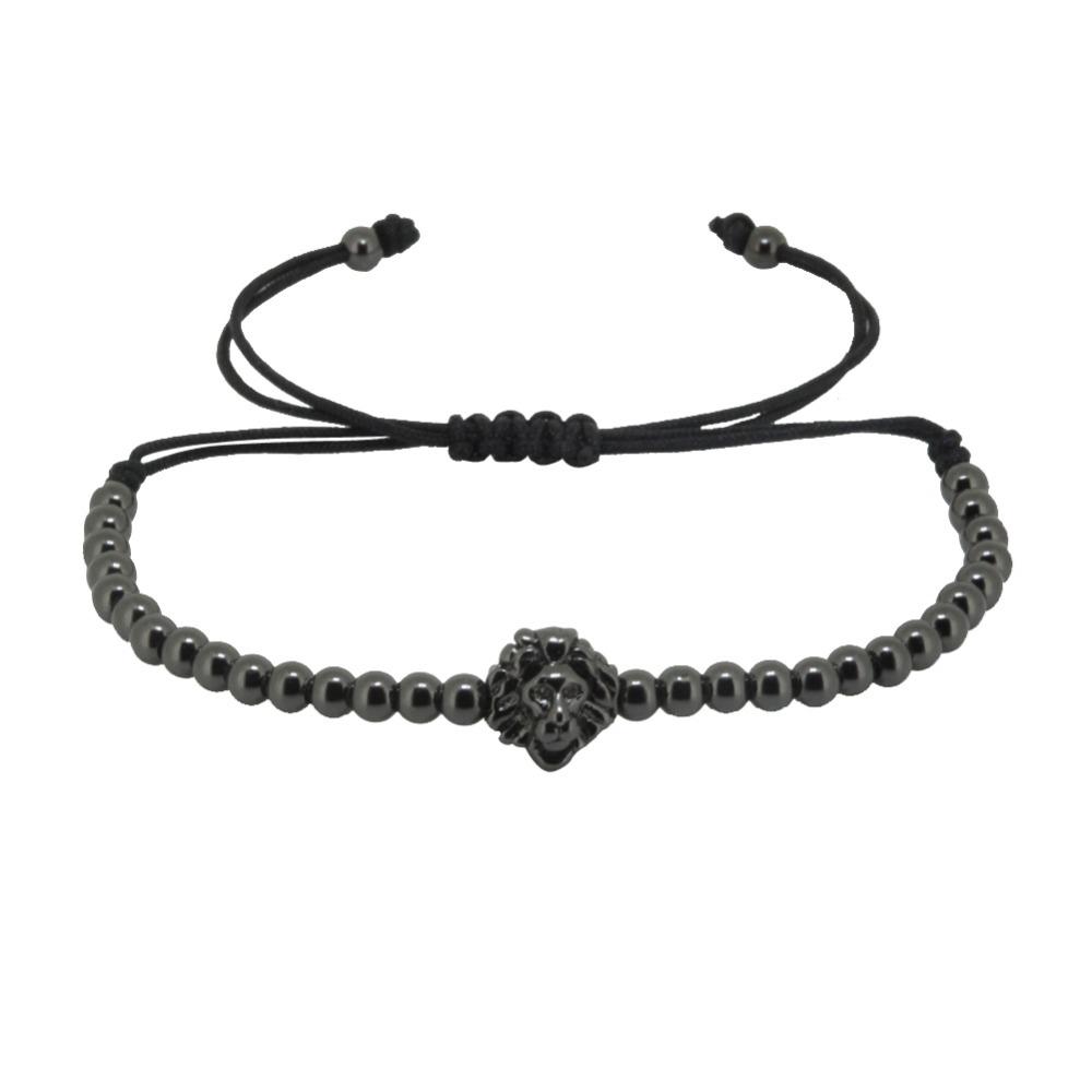 Bracelet for Women / Men Anil Arjandas Lion Head Braiding Macrame Bracelet, 4mm Atolyestone Beads & Real Gold Plated Lion Head(China (Mainland))