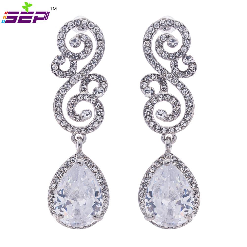 Silver Tone Wedding Earrings Teardrop Dangle Pierced Flower Earring Women Clear Rhinestone Crystals Zircon 20668 - SEP Jewelry store