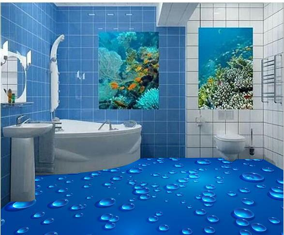 Large mural wallpaper papel de parede 3d bathroom floor for Bathroom floor mural sky