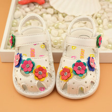 0-2 Y baby shoes baby sandals beautiful flower baby girl pu leather shoes girls breathable hollow infant girl sandals(China (Mainland))