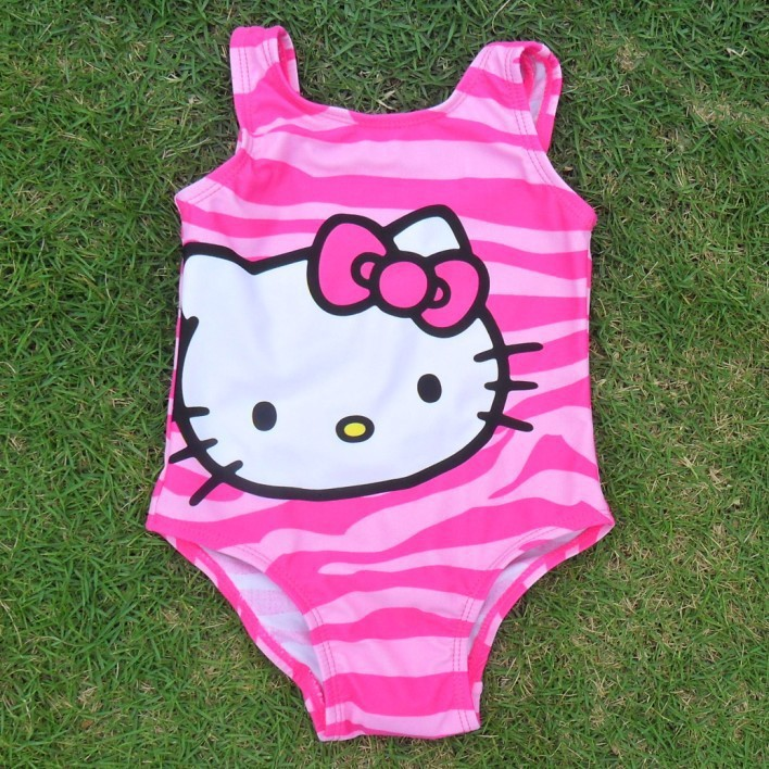 2016 Hello Kitty Biquini Infantil Girls Swimwear One Piece Swimsuit Summer Cartoon Swimming Costumes Kids Clothes - CiCi store