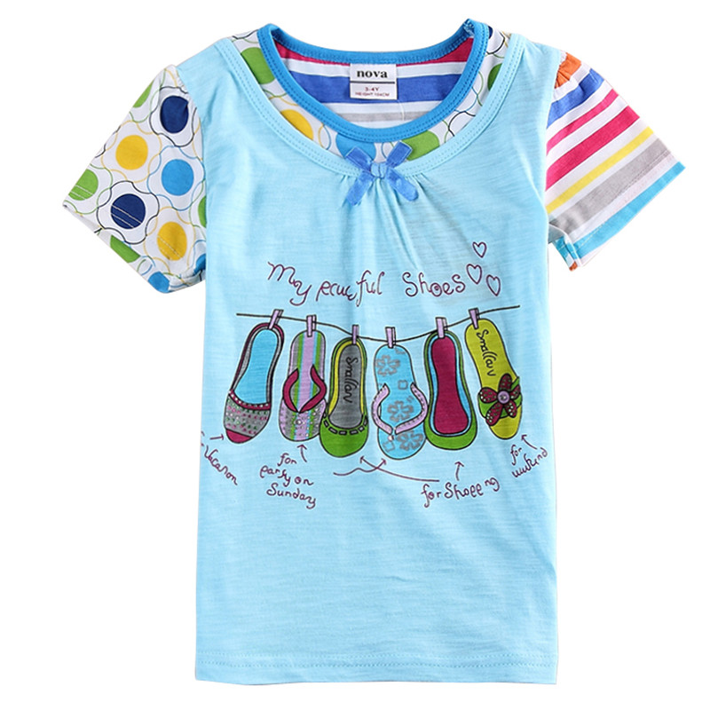 Retail Summer Style Girl Short Sleeve Cotton T Shirts For