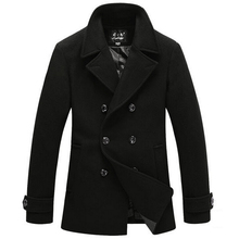 Men Winter Long sleeve Jacket Pea Coat Mens Pea Coat Wool Men  Fur Collar Overcoat Plus Size XXXL Cashmere Jackets()