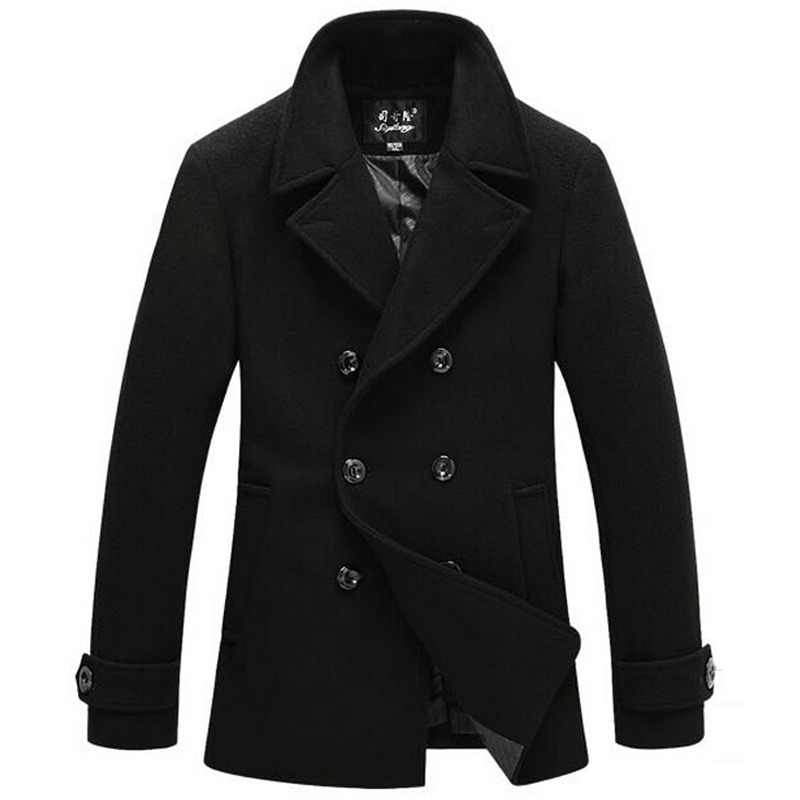 Winter Jacket Men's Coat Long sleeve Jacket Pea Coat Mens Pea Coat Wool Men Fur Collar Overcoat Plus Size XXXL Cashmere Jackets()