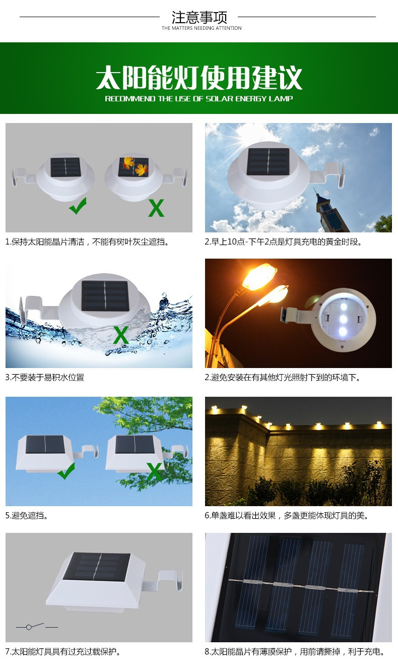PIR Motion Sensor 150LM Super Bright Solar LED Outdoor Gutter Light Waterproof Garden Fence Wall Yard Path Security Lamps Series