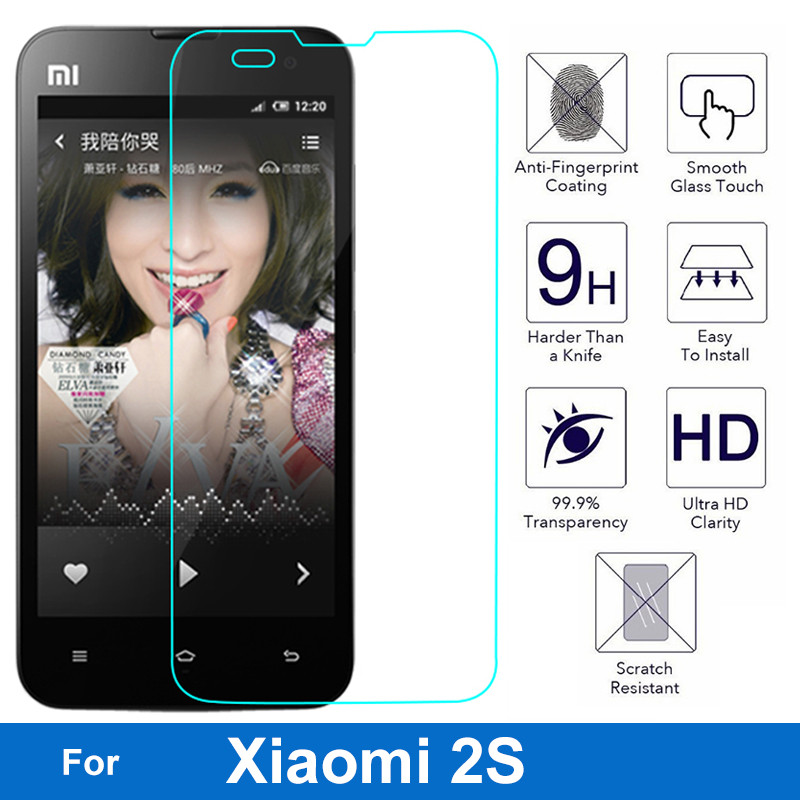 0.26mm LCD Explosion-proof Front Tempered Glass Film For Xiaomi mi2s Mi 2 2S Mi-2 Mi-2S Clear Screen Protector pelicula de vidro(China (Mainland))