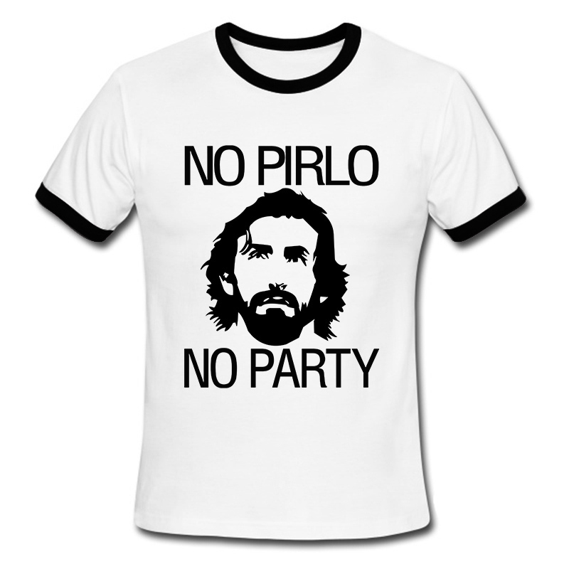 Summer New Printing Tshirts No Pirlo No Party Andrea Juventus Mens T-Shirt Cotton High Quality Short-Sleeve T Shirt O Neck(China (Mainland))