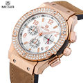 MEGIR Auto Date Casual Men Or Women Dress Watch Rose Gold Diamond Crystal Watches Chronograph Waterproof