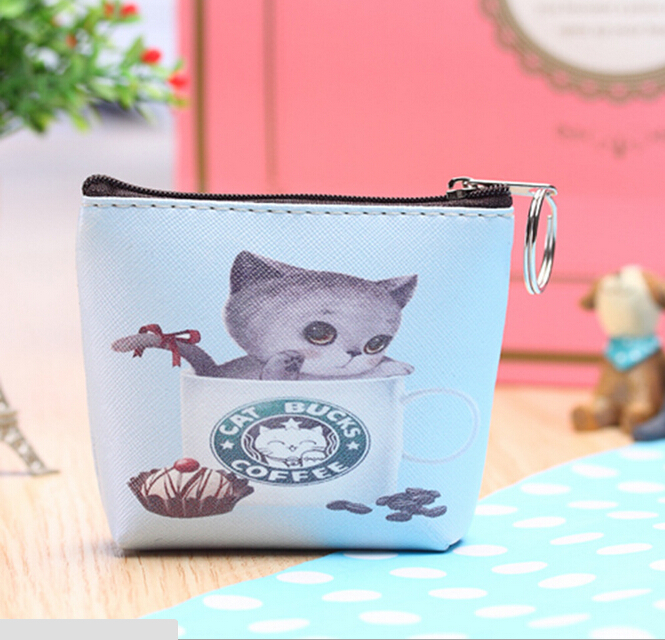 Top Bag 7 styles 2015 New Cute Cat Face Zipper Case Coin Purse cartoon key Wallet Makeup Buggy Bag Pouch(China (Mainland))