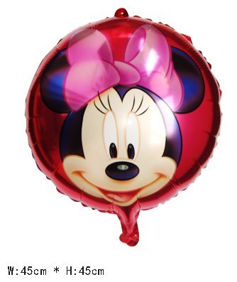 "50 PCS 18"" inch Round shape RED Minnie Helium balloons kids birthday party decorations Inflatable toys gifts for children games"