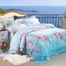 NEW Tencel flowers 4pc soft bedding set 3D Luxury Duvet covers King Queen bed sheets silk tencel fabric summer quilt bed set(China (Mainland))