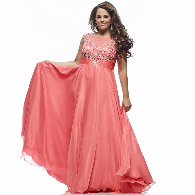 Coral chiffon plus size prom dresses 2016 pageant a line for Plus size coral dress for wedding