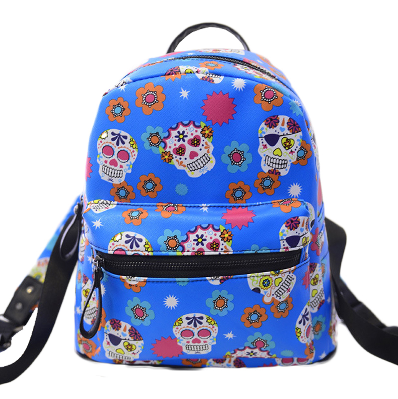style backpack colorful skull print