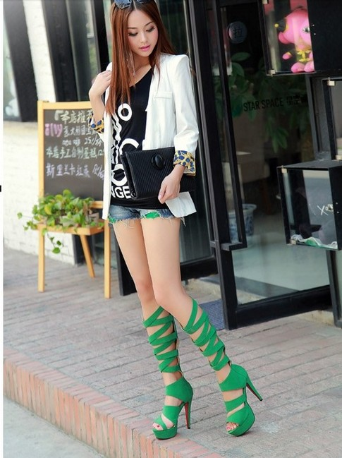 Freeshipping Best Selling New Arrival Summer Shoes Roman Designer Strappy Tied Boots Plus Size Lady Sandals 3 Colors B139(China (Mainland))