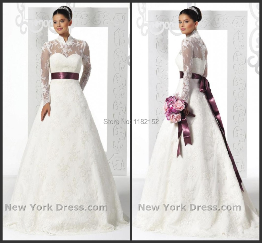 Purple And White Wedding Dresses With Sleeves : Custom made elegent white high neck long sleeve purple