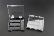 50pcs 12 gCosmetic plastic grid box / transparent cover / black matrix / rouge boxs / powder box / cosmetic packaging supplies(China (Mainland))