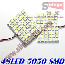 2pcs/lot 48 SMD 5050 Panel Bright 48 led panel 12v T10 W5W festoon Dome LED Bulb Lamp interior lighting auto parking car light(China (Mainland))