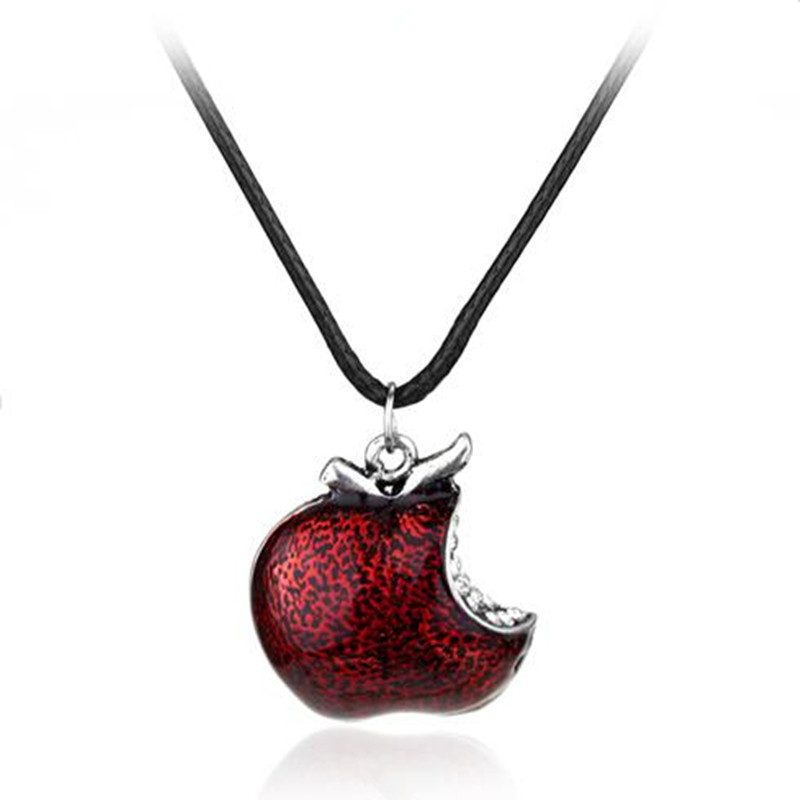 Women Around TV Jewelry Once Upon A Time Snow White Regina Crystal Poison apple Pendant Necklace Colliar Leather Cord(China (Mainland))