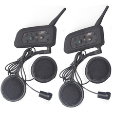 2016 new! 2 pcs Bluetooth Motorcycle Helmet Intercom Interphone Headset intercomunicador motocicleta with Updated soft earphone