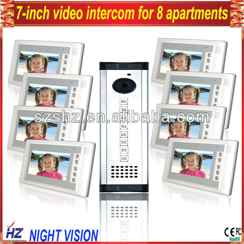 Free shipping 8 families video intercom door intercom video monitoring system apartment building video intercom(China (Mainland))
