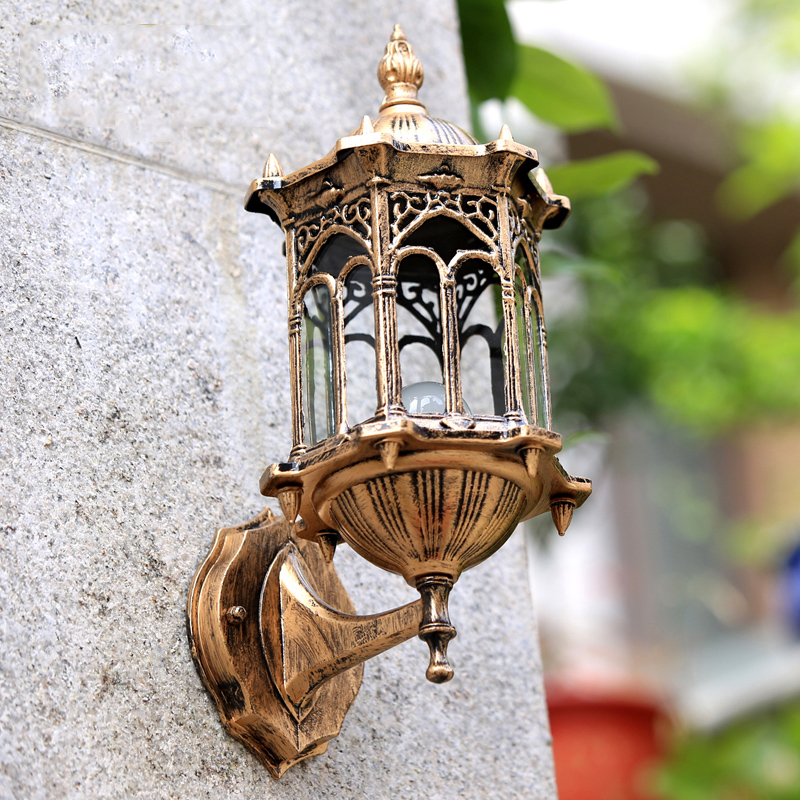 Wall Lamps Europe : 220V E27 Base 33*20cm no Light source europe retro wall lamp outdoor waterproof garden balcony ...