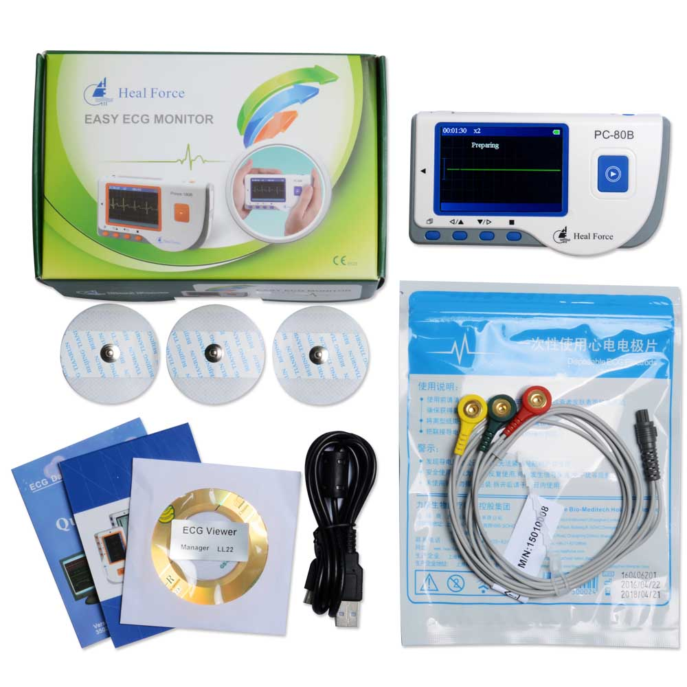 Heal Force PC-80B Portable Heart Ecg Monitor Software USB Oximeter Probe Electrocardiogram Electro Color Screen CE Approved