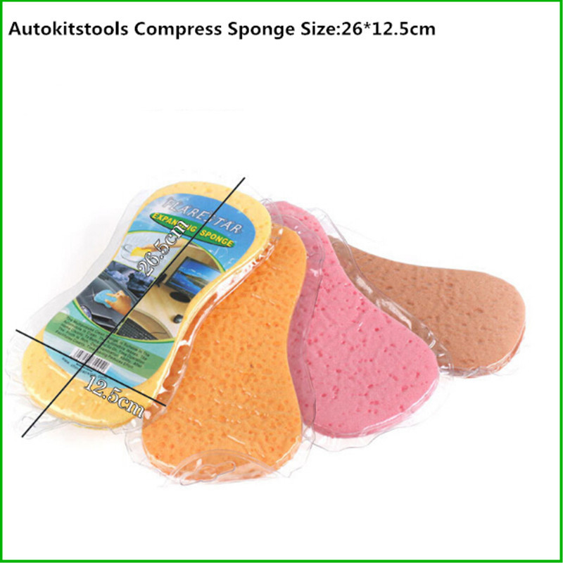 Free Shipping 5 Pcs/Lot Car Washing Tools Auto Cleaning Foam Sponge Vacuum Compressed Sponge(China (Mainland))