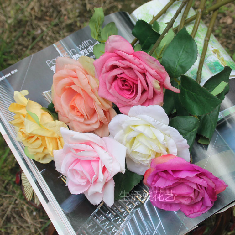 5 color wholesale 1 bouquet cheap fake rose flower artificial silk real touch rose flower. Black Bedroom Furniture Sets. Home Design Ideas