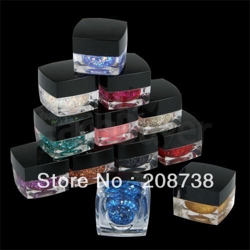12 Mixed Color Glitter UV Builder Gel Acrylic Nail Art
