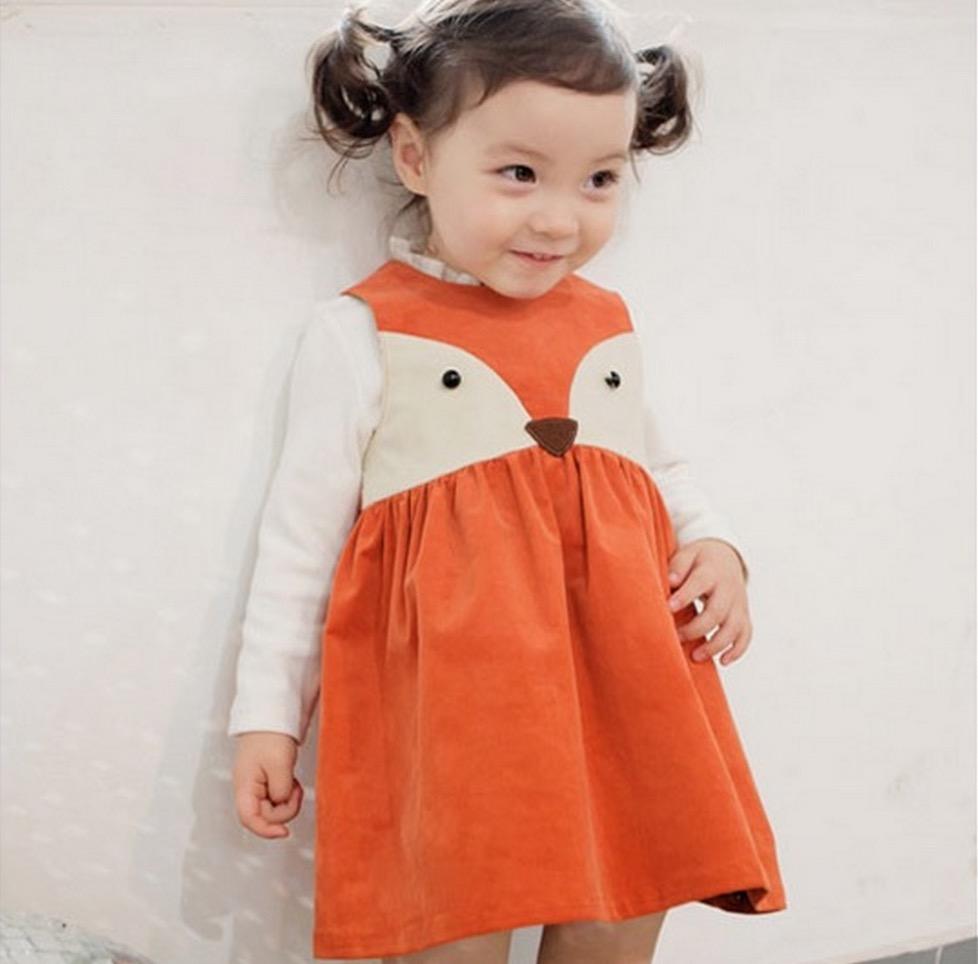 Гаджет  Retail Sweet Toddler Babies Girls Fox Style Casual Dresses Sleeveless Infant Newborn Baby Dresses Orange Color Christmas Dress None Детские товары