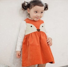 Toddler Sweet Kids Girls Fox Style Casual Dresses Sleeveless Spring Summer Fall Baby Dresses Orange Color Dress(China (Mainland))