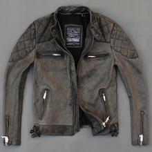 2015 New David Beckham Jacket Male Genuine Cow Leather Vintage Grey Retro Motorcycle Jacket Slim Short Men Coat FREE SHIPPING(China (Mainland))