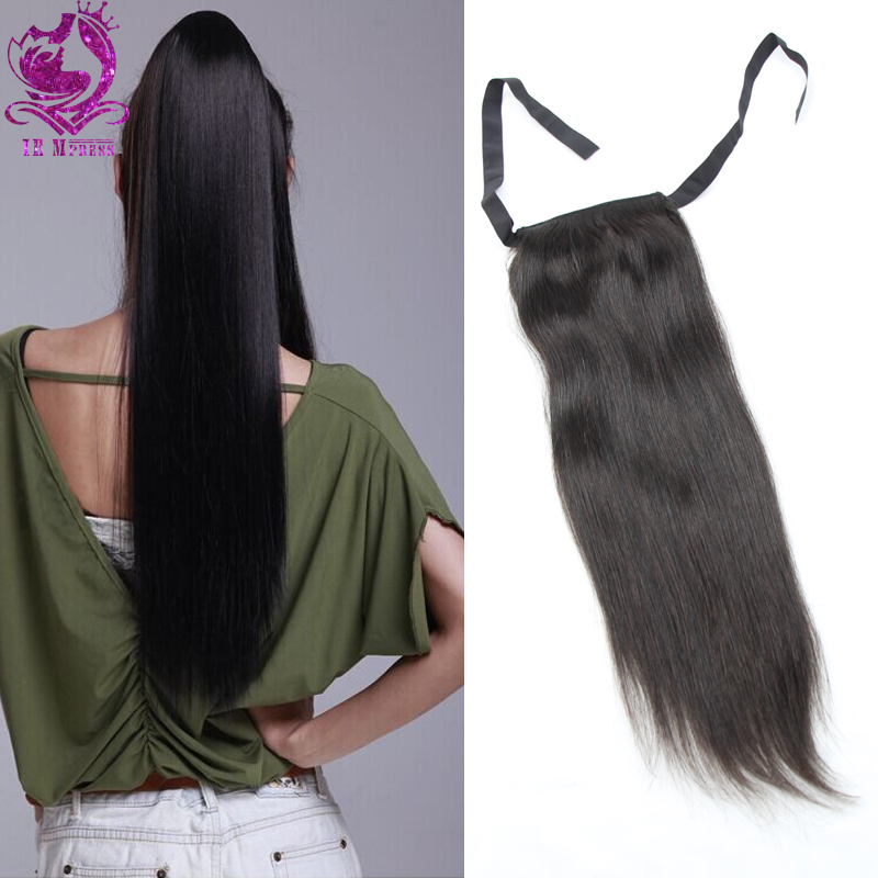 100% human hair drawstring ponytail straight natural color piece clip real ponytails black women - IE Mpress Hair Beauty Store store