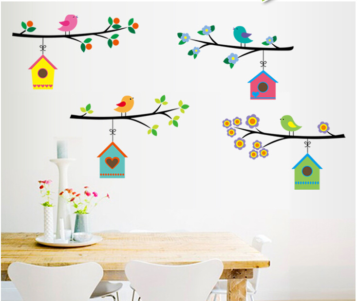 Colorful Bird Cage on Tree Branches Home Vinyl Decor Pvc Wall Art Decals(China (Mainland))